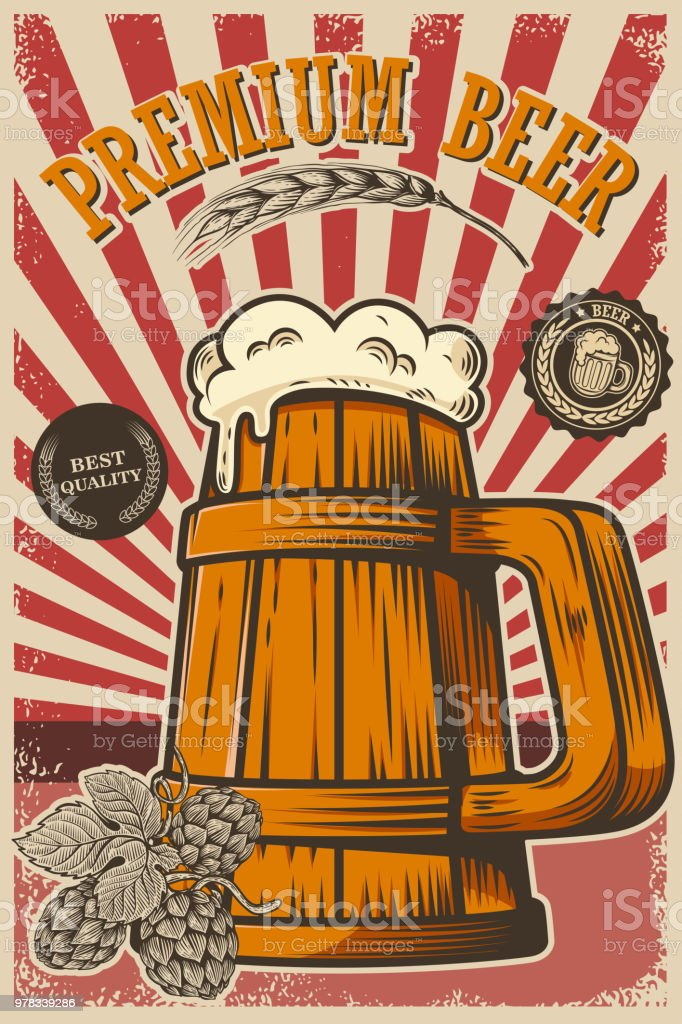 Beer Poster In Retro Style Objects On Grunge Background Design Element For Card