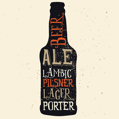 Beer poster. Print for T-shirts. Hand lettering. Vector graphics