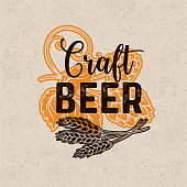 Craft beer poster. Alcohol menu design in retro style. Vector pub template with hops and wheat.