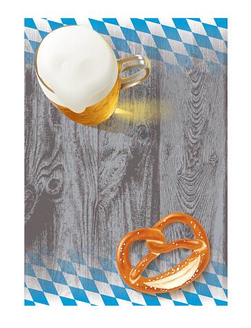 Beer Pretzel Bavarian Flag and Wood Structure