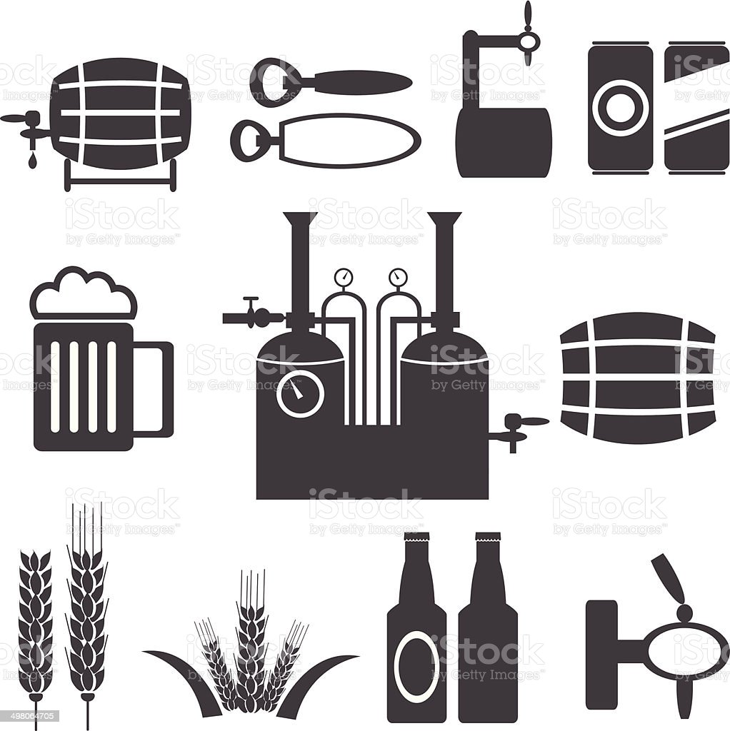 beer process and equipment  icon set - vector  illustrations EPS10 vector art illustration