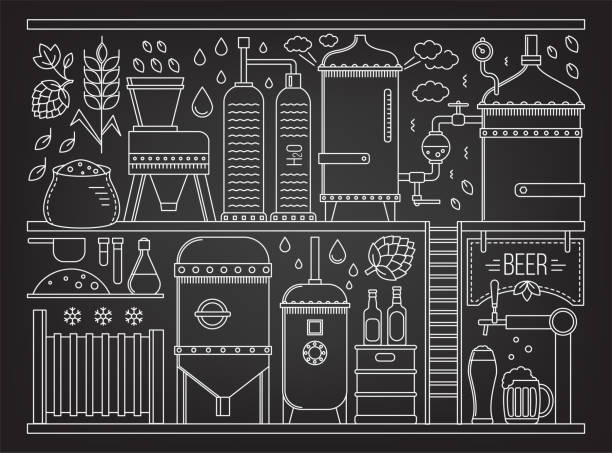 beer production stage - brewery tanks stock illustrations