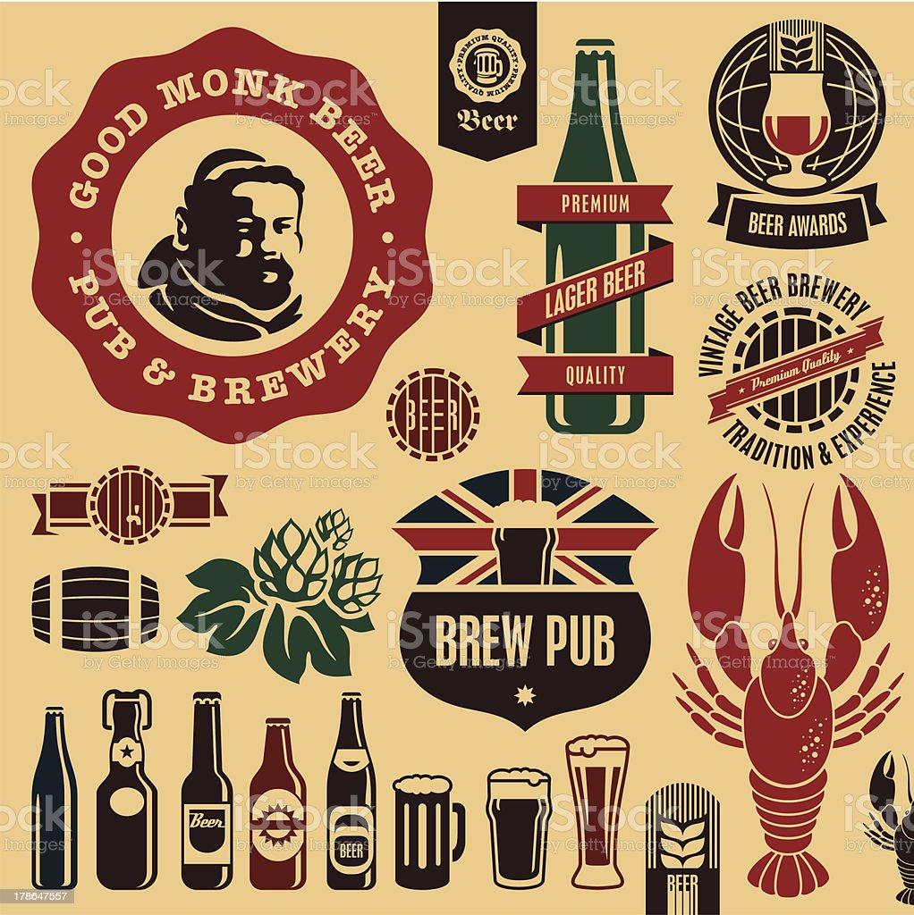 Etiquetas de cervezas pub - ilustración de arte vectorial