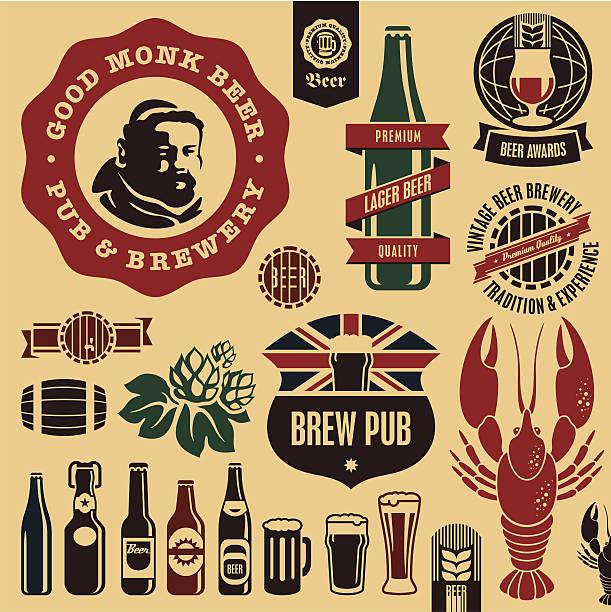 ilustraciones, imágenes clip art, dibujos animados e iconos de stock de etiquetas de cervezas pub - hermano