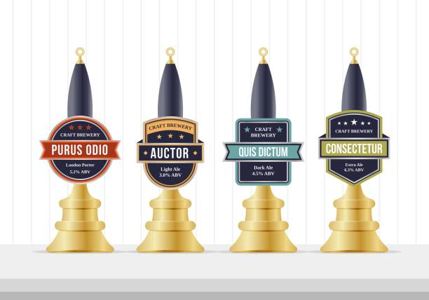 Beer pump template design. Beer pump collection. Beer pump label set. Beer pump template design. Beer pump collection. Beer pump label set. handle stock illustrations