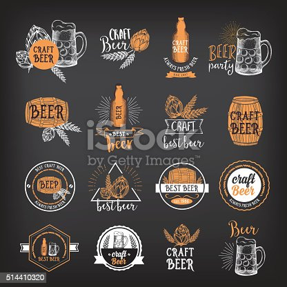 Beer restaurant badges vector, alcohol menu design. Vector drink elements hand-drawn graphic for beer flyer and template.