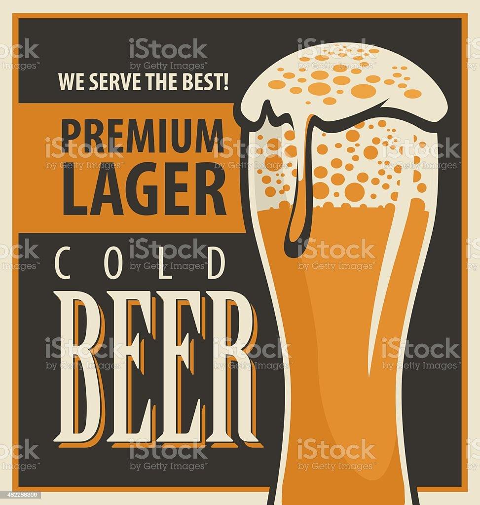 beer retro vector art illustration