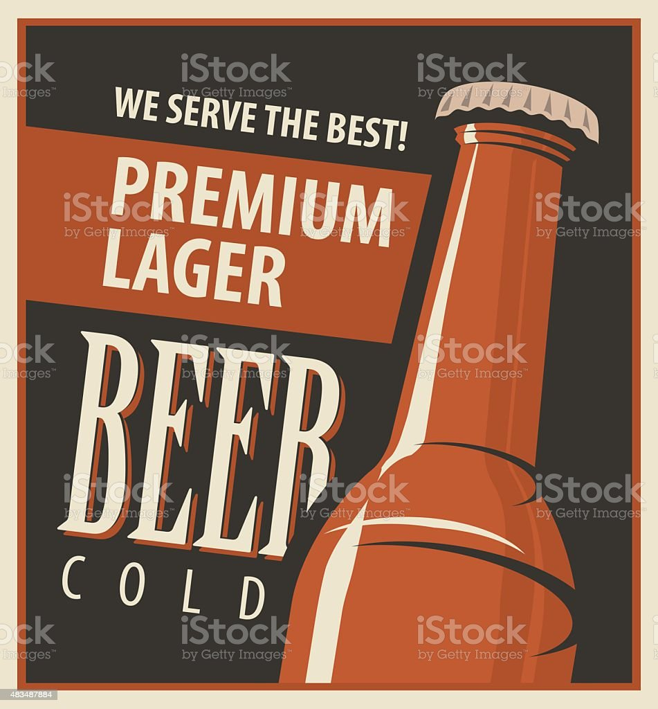 Beer retro vector art illustration