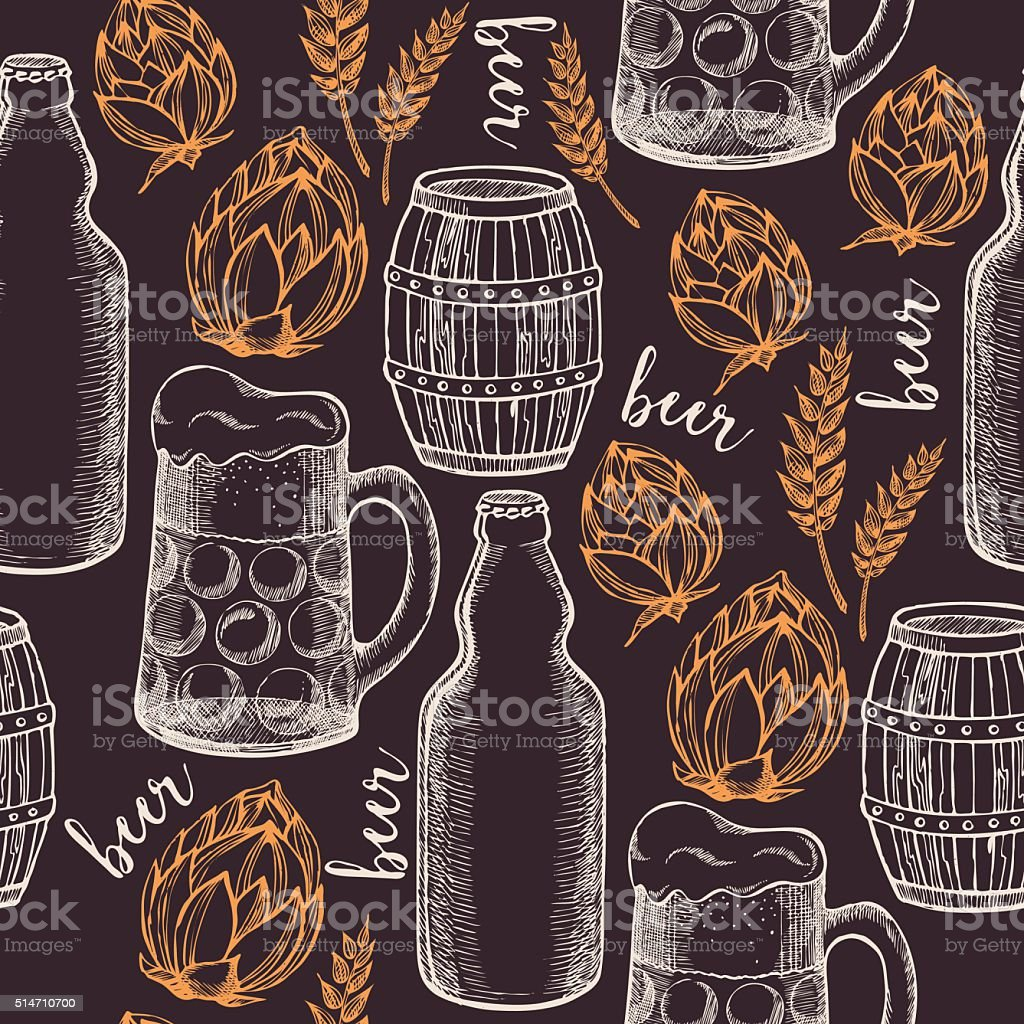 Beer seamless pattern background vector. vector art illustration