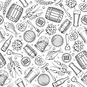 Beer Seamless Pattern in Outline Hand Drawn Doodle Style with Different Objects related beer. Beer and Snack. Black and White. All elements are separated and editable.  Vector Illustration.