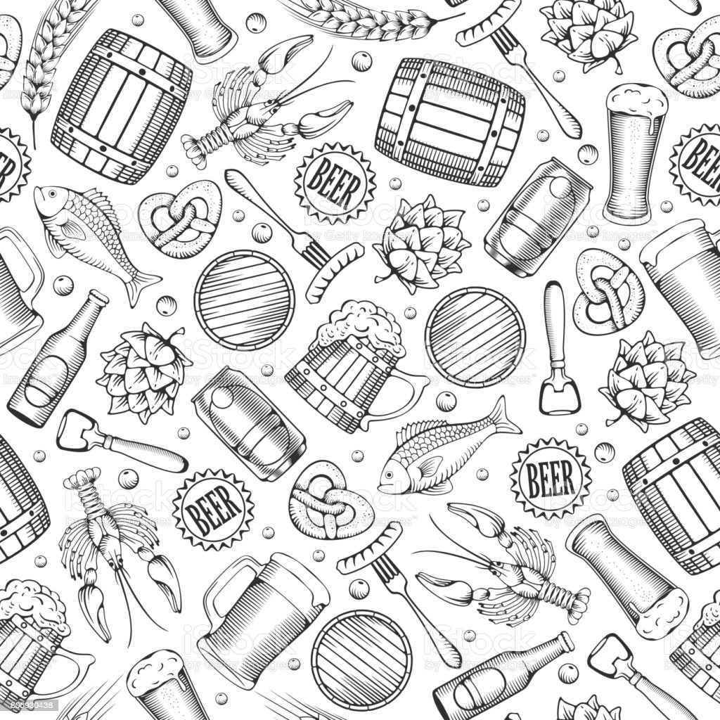 Beer seamless pattern vector art illustration