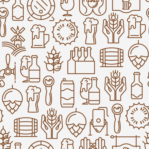 Beer seamless pattern with thin line icons related to brewery and Beer October Festival. Modern vector illustration for banner, web page, print media. vector art illustration