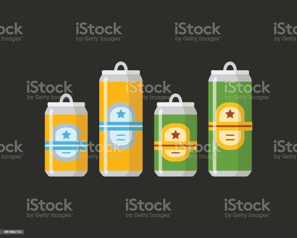 Beer set. A collection of beer cans in different colors on a black background. vector art illustration