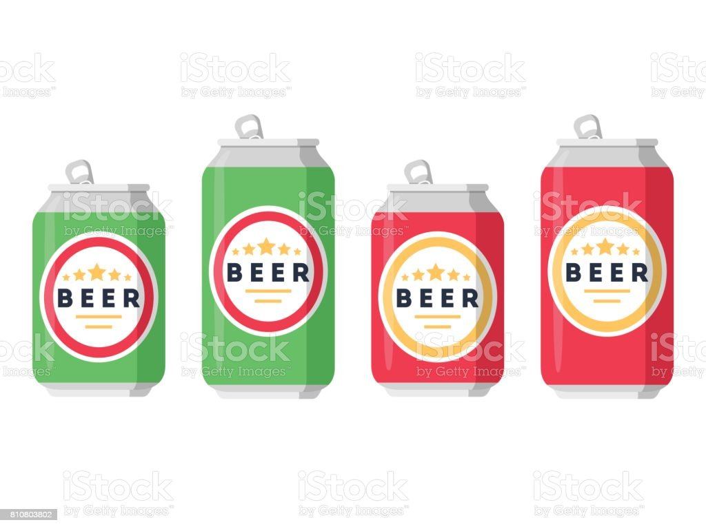 Beer set. A collection of beer cans in different colors on a white background. Isolated in a trendy flat style. vector art illustration