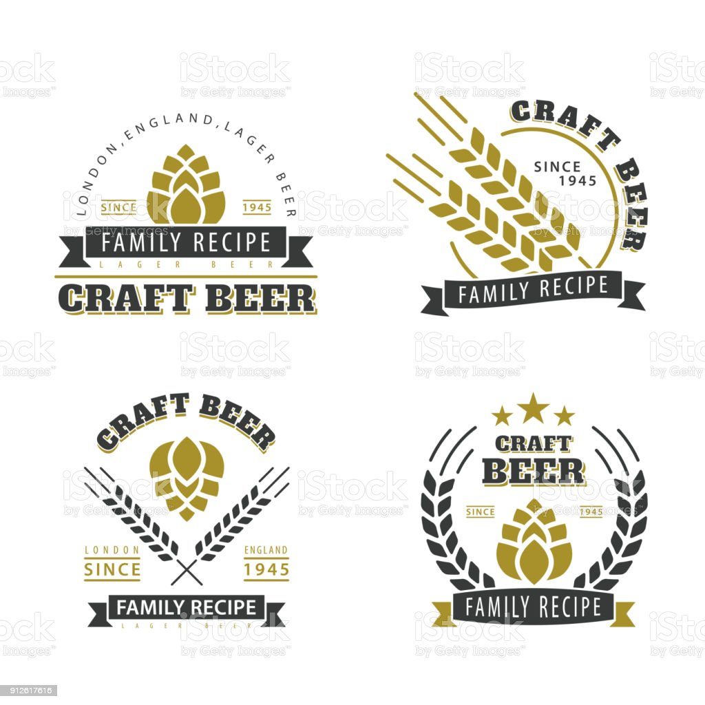 Beer set of emblems. vector art illustration