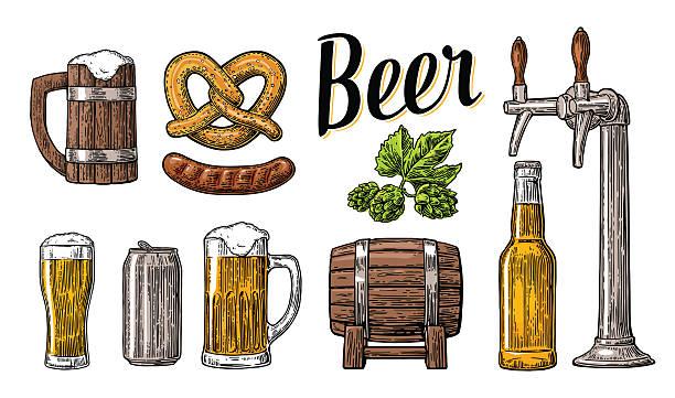 Beer set. Tap, class, can, bottle, barrel, sausage, pretzel, hop - ilustração de arte em vetor
