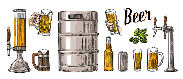 Beer set two hands holding glasses and can, keg, bottle