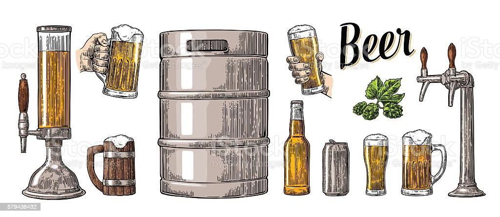 Beer set two hands holding glasses and can, keg, bottle – Vektorgrafik