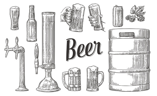 Beer set with hands holding glasses and tap, can, keg