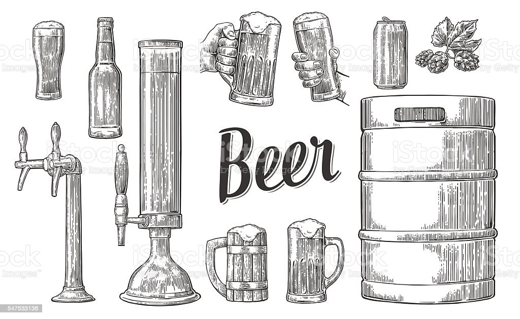 Beer set with hands holding glasses and tap, can, keg vector art illustration