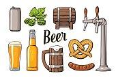 Beer set with tap, class, bottle, barrel, sausage, pretzel hop