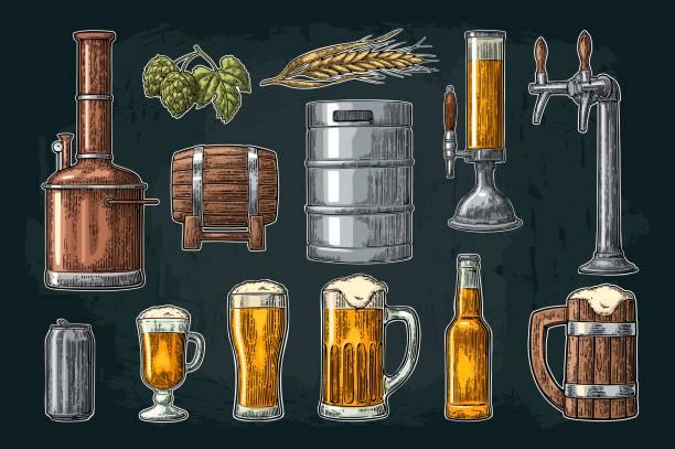 Bier Set mit Hahn, Klasse, Dose, Flasche und Panzer aus Brauerei Fabrik. – Vektorgrafik