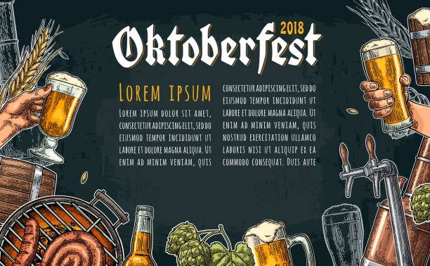 beer set with tap, class, can, bottle and tanks from brewery factory. - oktoberfest stock illustrations