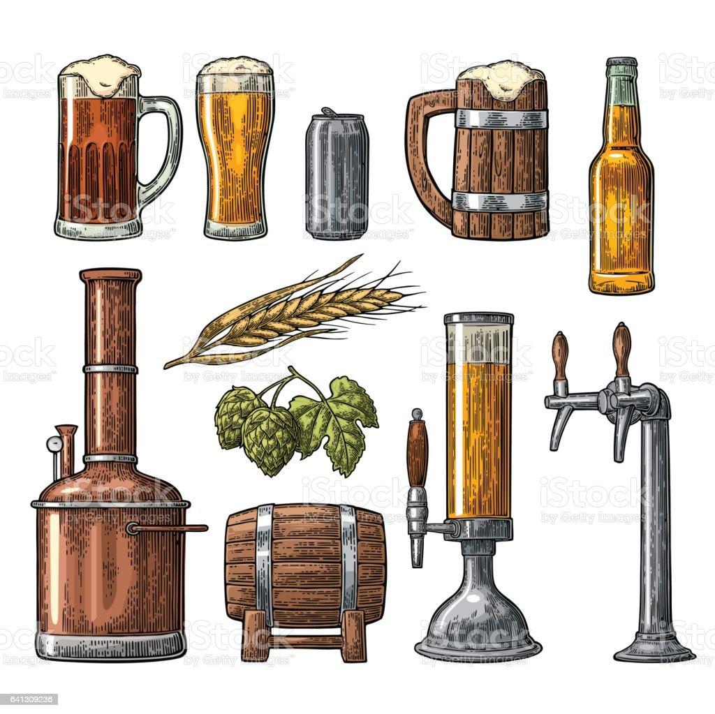 Bier mit Hahn, Klasse, Dose, Flasche, Panzer Brauerei Fabrik eingestellt. – Vektorgrafik