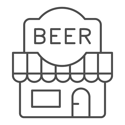 Beer shop thin line icon, Craft beer concept, front facade of beer store sign on white background, alcohol bar building icon in outline style for mobile concept and web design. Vector graphics