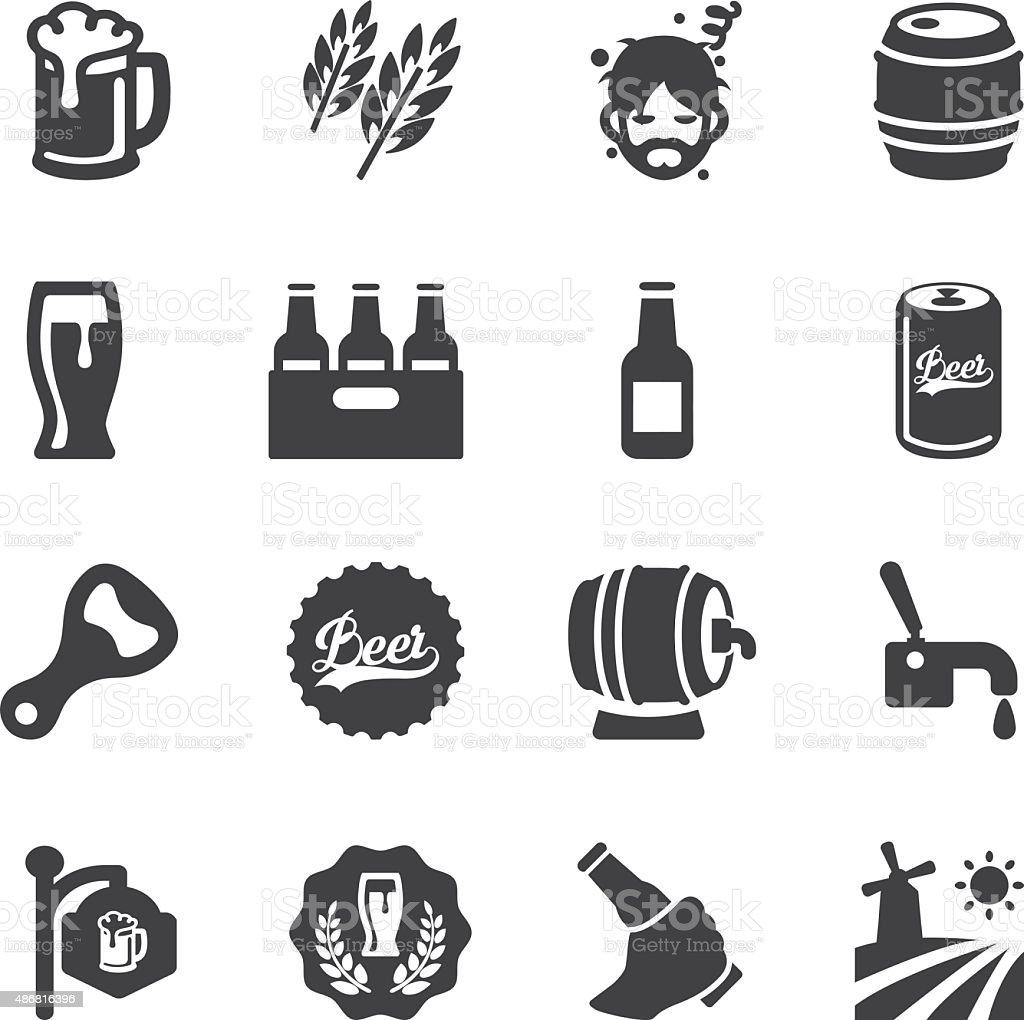 EPS10 Silhouette di birra Icone / - illustrazione arte vettoriale