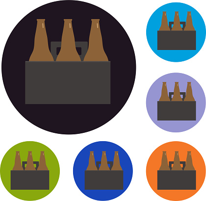 Beer six pack set of icons