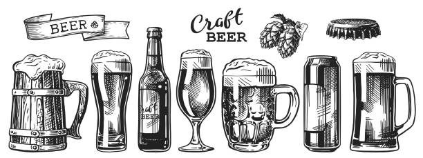 beer sketch set Set of beer glasses, mugs, ribbon, bottle, and hop. Vintage vector engraving illustration for web, poster, invitation to party. Hand drawn design element isolated on white background. beer glass stock illustrations