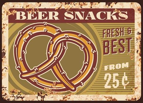 Beer snacks rusty metal plate with vector pretzel