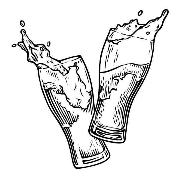 ilustrações, clipart, desenhos animados e ícones de respingo de cerveja 3 - brinde