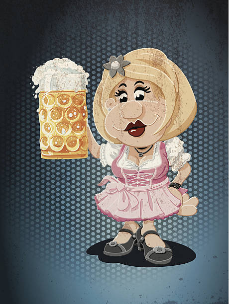 Beer Stein Dirndl Oktoberfest Cartoon Woman Grunge Color Grunge Vector Artwork of a Bavarian Dirndl Cartoon Woman with a beer stein. Cheers! The colors in the .eps-file are ready for print (CMYK). Transparencies used. All objects are on separate layers. Included files: EPS (v10) and Hi-Res JPG. oktoberfest stock illustrations