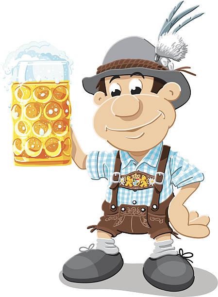 Beer Stein Lederhosen Cartoon Man Isolated Vector Illustration of a Bavarian Lederhosen Cartoon Man with a beer stein. Cheers! The illustration is on a transparent background (.eps-file). The colors in the .eps-file are ready for print (CMYK). Included files: EPS (v8) and Hi-Res JPG. oktoberfest stock illustrations