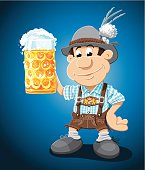 Beer Stein Lederhosen Cartoon Man