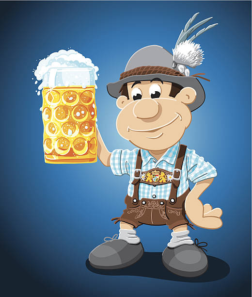 Beer Stein Lederhosen Cartoon Man Vector Illustration of a Bavarian Lederhosen Cartoon Man with a beer stein. Cheers! The background is on a separate layer, so you can use the illustration on your own background. The colors in the .eps-file are ready for print (CMYK). Included files: EPS (v8) and Hi-Res JPG. oktoberfest stock illustrations