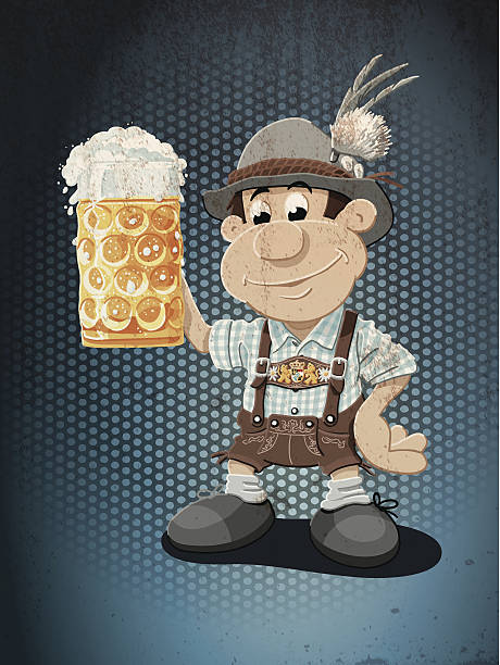 Beer Stein Lederhosen Oktoberfest Cartoon Man Grunge Color Grunge Vector Artwork of a Bavarian Lederhosen Cartoon Man with a beer stein. Cheers! The colors in the .eps-file are ready for print (CMYK). Transparencies used. All objects are on separate layers. Included files: EPS (v10) and Hi-Res JPG. oktoberfest stock illustrations