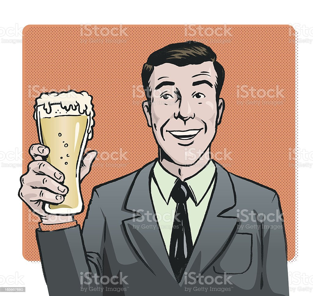Beer, suit and a smile royalty-free stock vector art