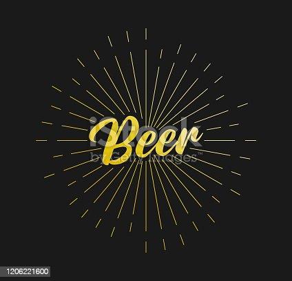 Beer. Sunburst Line Rays. For Greeting Card, Poster and Web Banner. Vector Illustration, Design Template.
