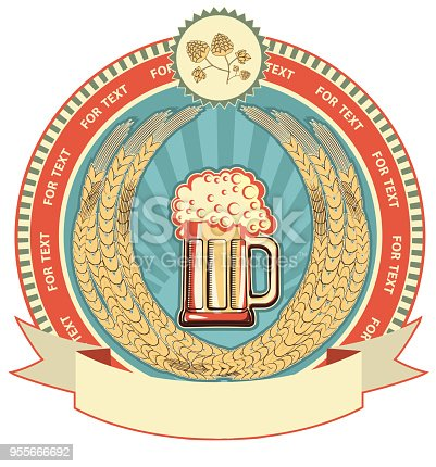 Beer Symbol Of Labelvector Background On White For Text Stock Vector