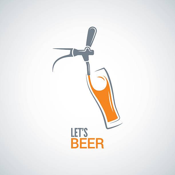 beer tap glass design vector background - bartender stock illustrations