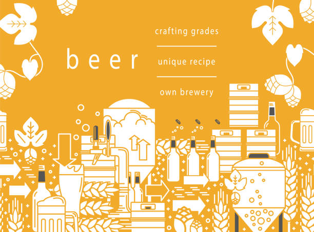 Beer tap, mug, glass with beer, kegs, bottles, equipment for brewery, hops, wheat. Linear pattern on a yellow background. Vector illustration. Cropped with a mask. vector art illustration