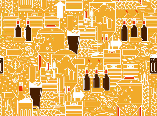 Beer tap, mug, glass with dark beer, kegs, bottles, equipment for brewery, hops, wheat. Linear seamless pattern on a yellow background. Vector illustration. vector art illustration