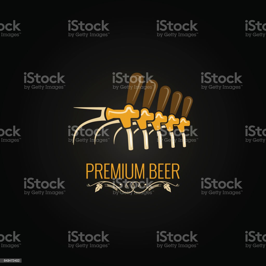 beer tap vintage ornate design background vector art illustration