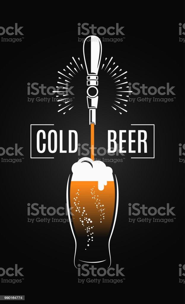 Beer tap with beer glass on black background vector art illustration