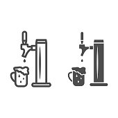 istock Beer tap with full mug with foam line and solid icon, Oktoberfest concept, pub equipment sign on white background, beer pump for bar icon in outline style for mobile and web design. Vector graphics. 1280987835
