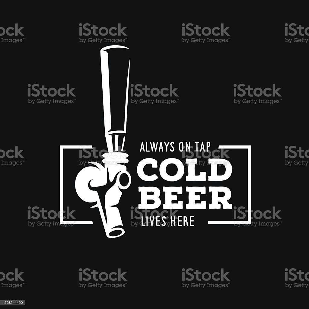 Beer tap with quote. Vector vintage illustration. - illustrazione arte vettoriale