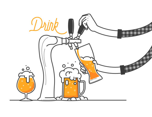 beer tapping in a bar or restaurant. the guy is wearing a plaid shirt. three glass of beers minimal vector illustration, line design. drink ale or cold foamed craft beer.  3 different type of glasses - plaid shirt stock illustrations